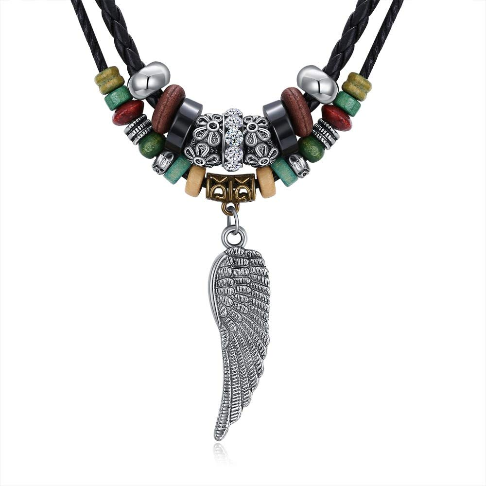 Davitu Vintage Feather Colored Beads Two Layers Braid Genuine Leather Chain Pendant Necklace for Women Men Long Sweater Metal Color: 022, Length: 64cm