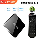 【2019 TV BOX / 4GB + 64GB】H96 MAX Android 8.1 TV Box 4G + 64G Amlogic S905 X2 Quad Core ARM Cortex A53 Smart Set-top box, Support 2.4G / 5.8G Dual Wifi /3D/4k/USB3.0