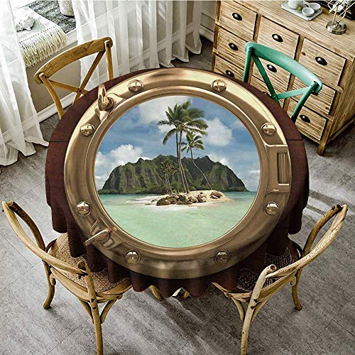 DONEECKL Oil-Proof and Leak-Proof Tablecloth Hawaiian Decorations Porthole Inside a Ship with a View of a Deserted Island Hill Cliff Tropical Holiday and Durable D43