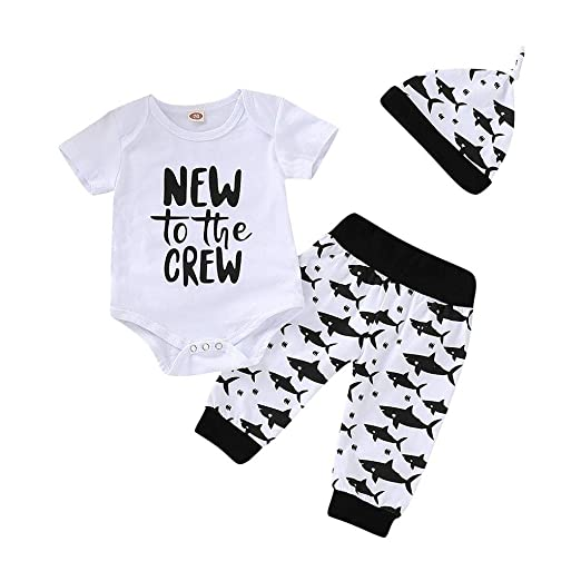 dc292a40ad36 Amazon.com  Newborn Infant Baby Boy Girl Letter Romper Tops+Shark ...