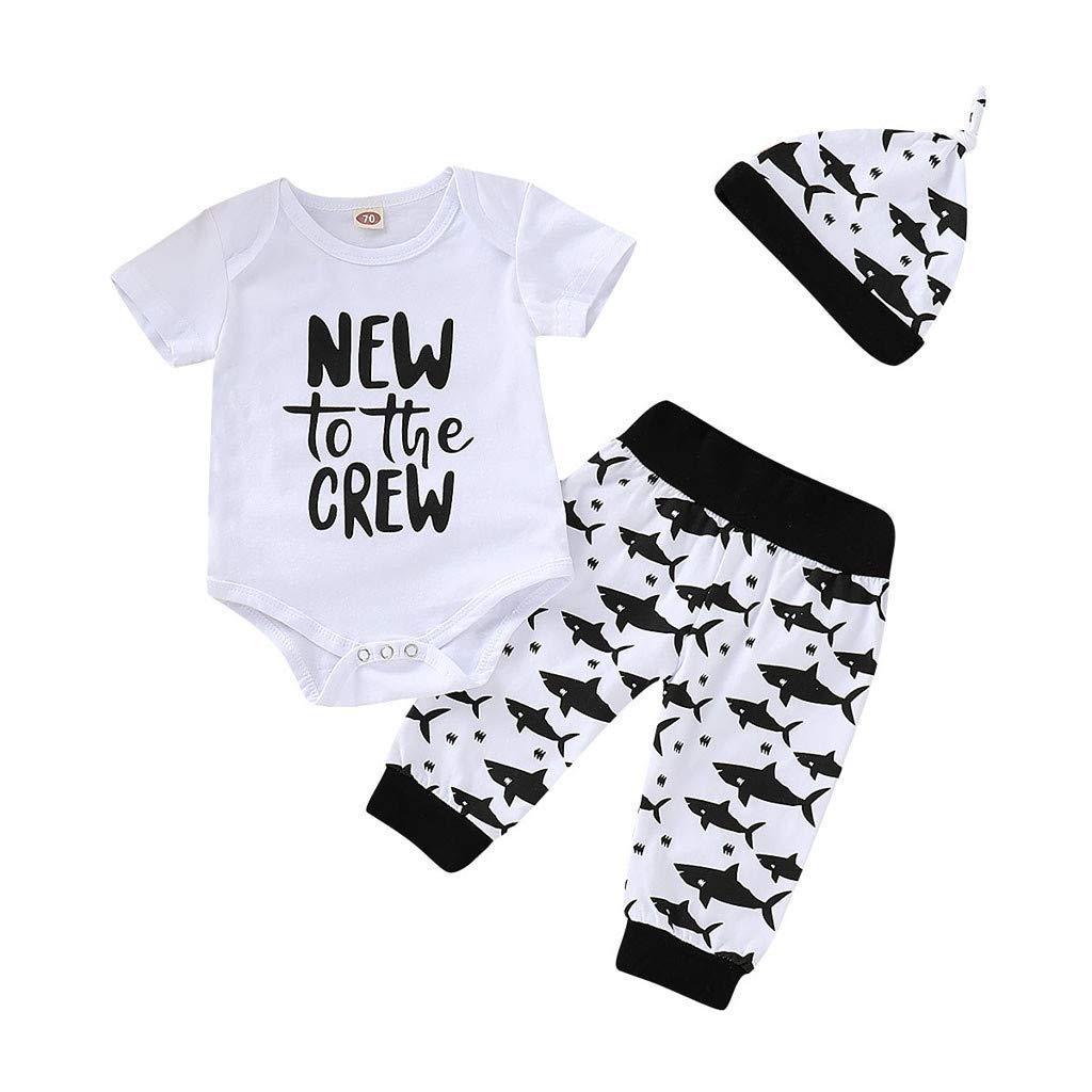 3PCS Newborn Jumpsuit, Infant Baby Girl Boy Short Sleeve Letter Print Romper Pants Shorts+Headband Outfit Set (9-12 Months, White)