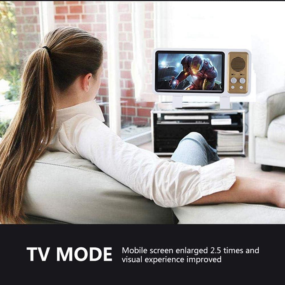 Lupa de pantalla 3D estilo retro con altavoz inalámbrico,amplificador de películas HD portátil de 8inch con soporte plegable,altavoz BT de cambio USB,teléfono móvil accesorio,proyector de pantalla: Amazon.es: Electrónica