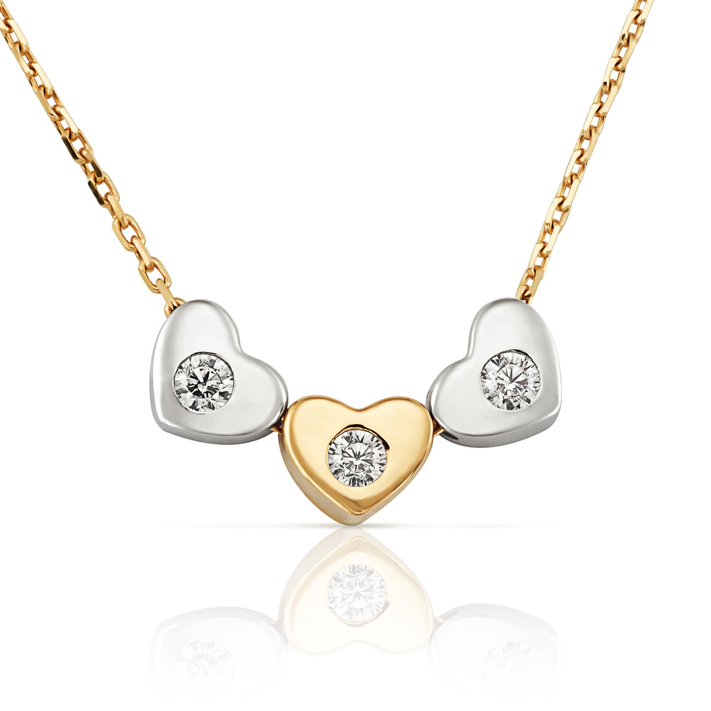 14k Two Tone Yellow and White Gold Petite Sliding Triple Heart Pendant Necklace with CZ on Delicate Chain