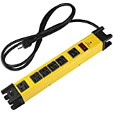 Heavy Duty Power Strip Surge Protector, 6 Outlet Industrial Power Strip with 15A, Shop Workshop Garden Metal Power Strip with