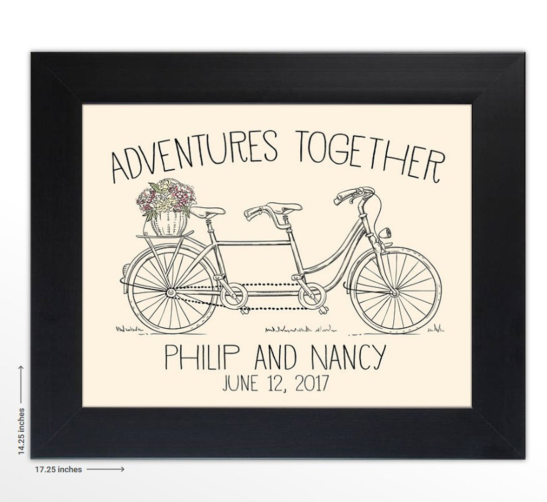 Personalized Wedding Gift -''Adventures Together'' - The Perfect Present for the Bride and Groom or Anniversary - Customized Print Includes Names and the Special Date