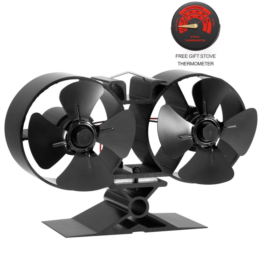 CRSURE Fireplaces Stove Fan - Double Motor - 8 Blade Heat Powered Stove Fan Specially for Large Room for Fireplace, Wood/Log Burner (Small Size) by CRSURE