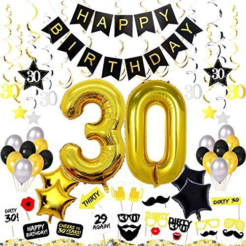 30th Birthday Decorations Kit 75 Pieces - Happy Birthday Banner, 40-Inch 30 Gold balloons, Sparkling Hanging Swirls, Photo Booth Props, Confetti for Table Decorations, Birthday Plan -