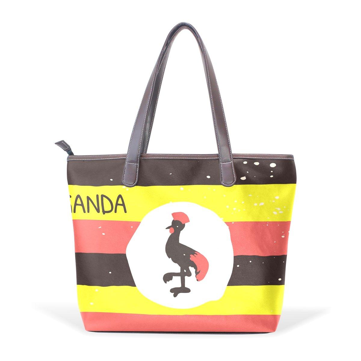 Distressed Uganda Flag Womens Fashion Large Shoulder Bag Handbag Tote Purse for Lady