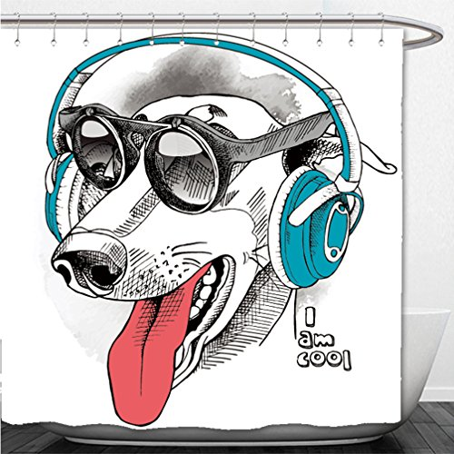 Interestlee Shower Curtain portrait of a funny dog greyhound wearing blue headphones and with sunglasses vector illustration - Haymaker Sunglasses