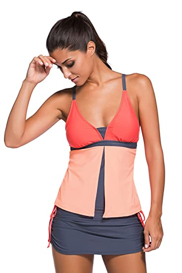 abfca43f04e50 Bluewolfsea Womens Summer Colorblock Tankini Top and Bottom Set Swimsuit  Orange S at Amazon Women's Clothing store: