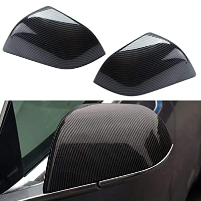 ROCCS Tesla Model 3 Side Mirror Cover, ABS Plastic Cover Carbon Fiber Outside Mirrors Cap Replacement, Pack of two: Automotive