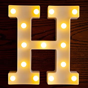 Yorulory LED Letter Lights Sign Letters Light Up Letters Sign for Night Light Wedding Birthday Party Battery Powered Christmas Lamp Home Bar (H)
