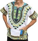 RaanPahMuang Brand Thick Muang Cotton Print African Dashiki Shirt Africa Plus, XXXX-Large, White