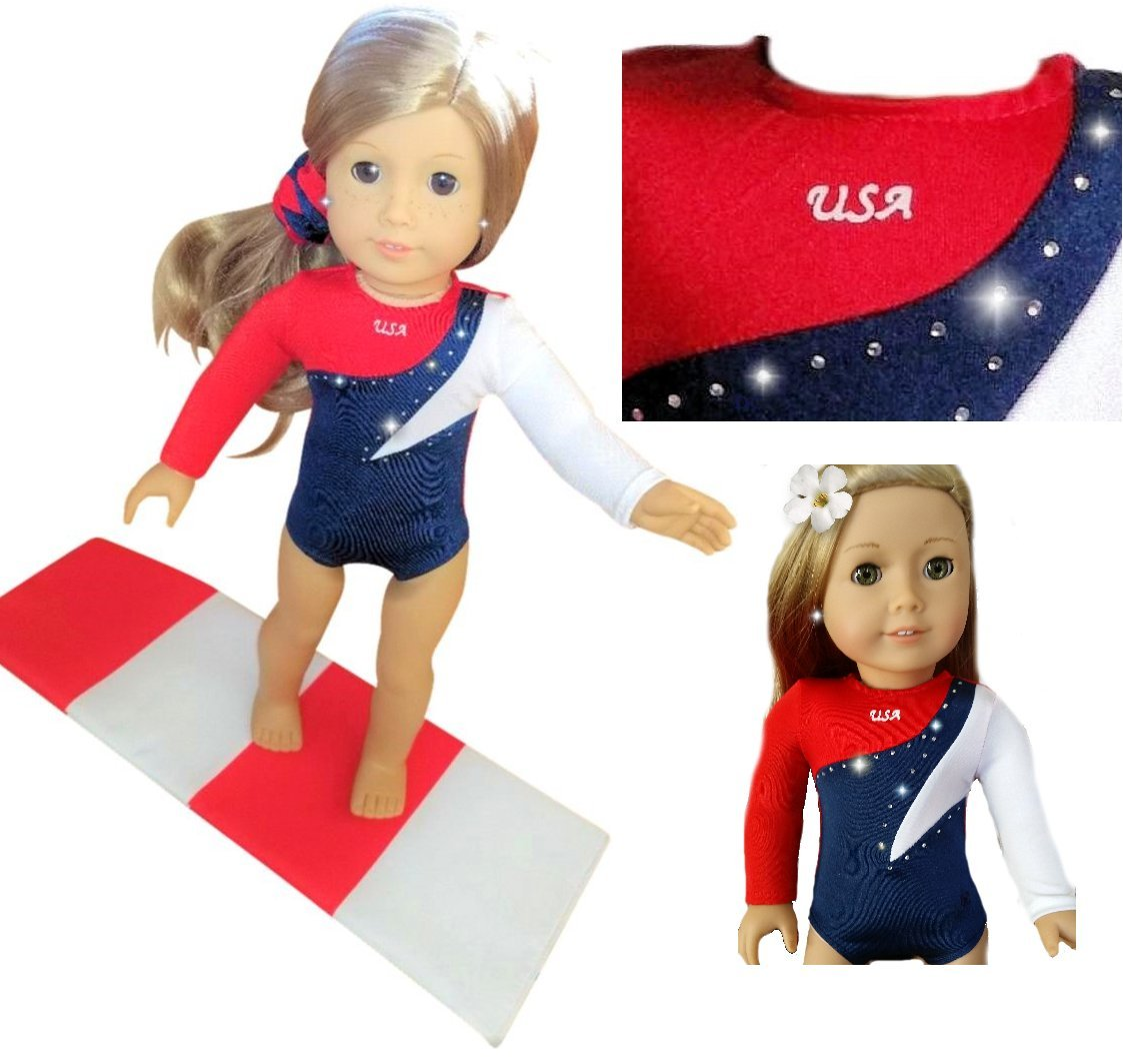 Gymnastics Outfit For American Girl Dolls - Doll Clothes and Accessories for your 18 inch Doll - USA Olympic Leotard w/BONUS Mat (3 Pieces)