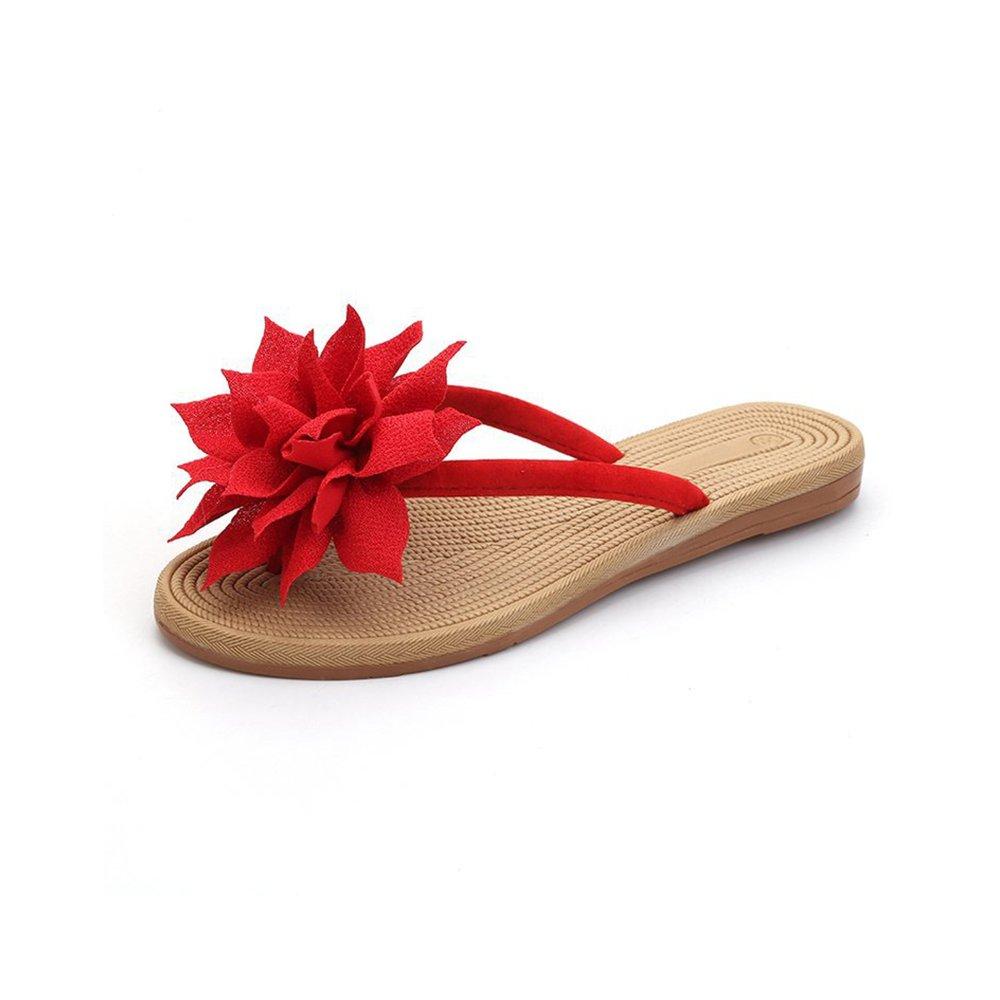 DULEE Damen Sommer Strand und Casual Flip Flops Thongs Sandalen Slipper  35 EU|Rot