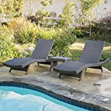 Home Outdoor Wicker 3-piece Adjustable Chaise Lounge Set Grey
