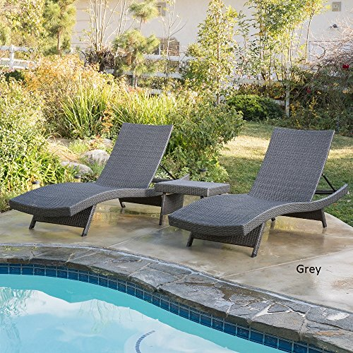 Home Outdoor Wicker 3-piece Adjustable Chaise Lounge Set Grey by Unknown