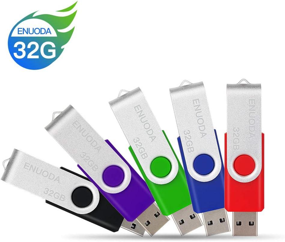 5 Pack 32GB USB 2.0 Flash Drive ENUODA 32 gb Thumb Drive Memory Stick (5 Mixed Colors: Black Blue Green Purple Red)