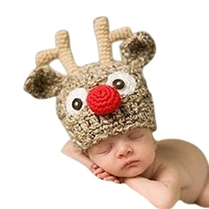 586cc26198234 Tinksky Baby Handmade Knitted Crochet Knit Reindeer Hat Antlers Newborn  Baby Photography Photo Prop Newborn Baby Boy Girl Costume By Xselector