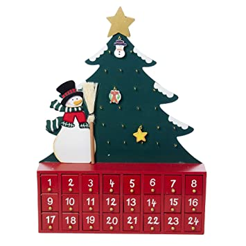 Amazon.com: Kurt Adler Wooden Snowman with Tree Advent Calendar ...