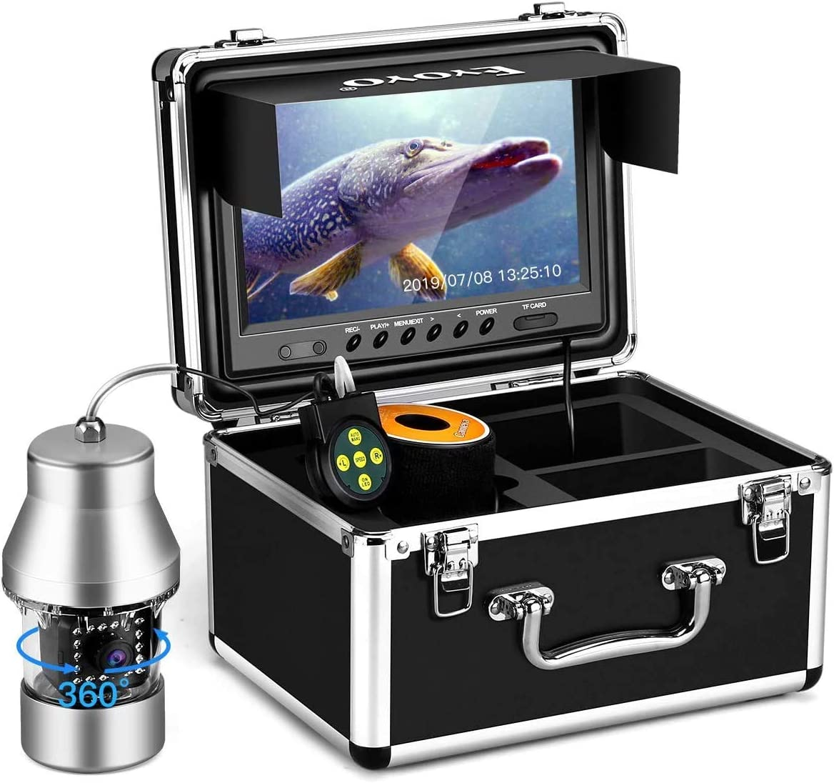 Eyoyo Underwater Fishing Camera Video Fish Finder DVR Function 9 inch Large Color Screen 360° Horizontal Panning Camera 1000TVL w/ 18 Infrared IR Lights 30M Cable for Lake Sea Boat Ice Fishing
