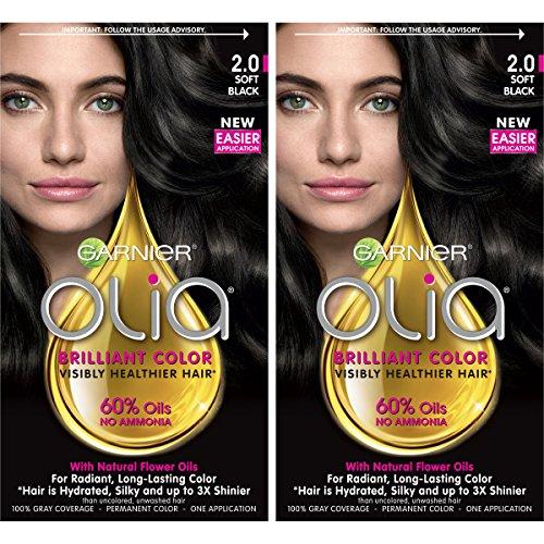 Garnier Hair Color Olia Oil Powered Permanent, 2.0 Soft Black, 2 Count by Garnier