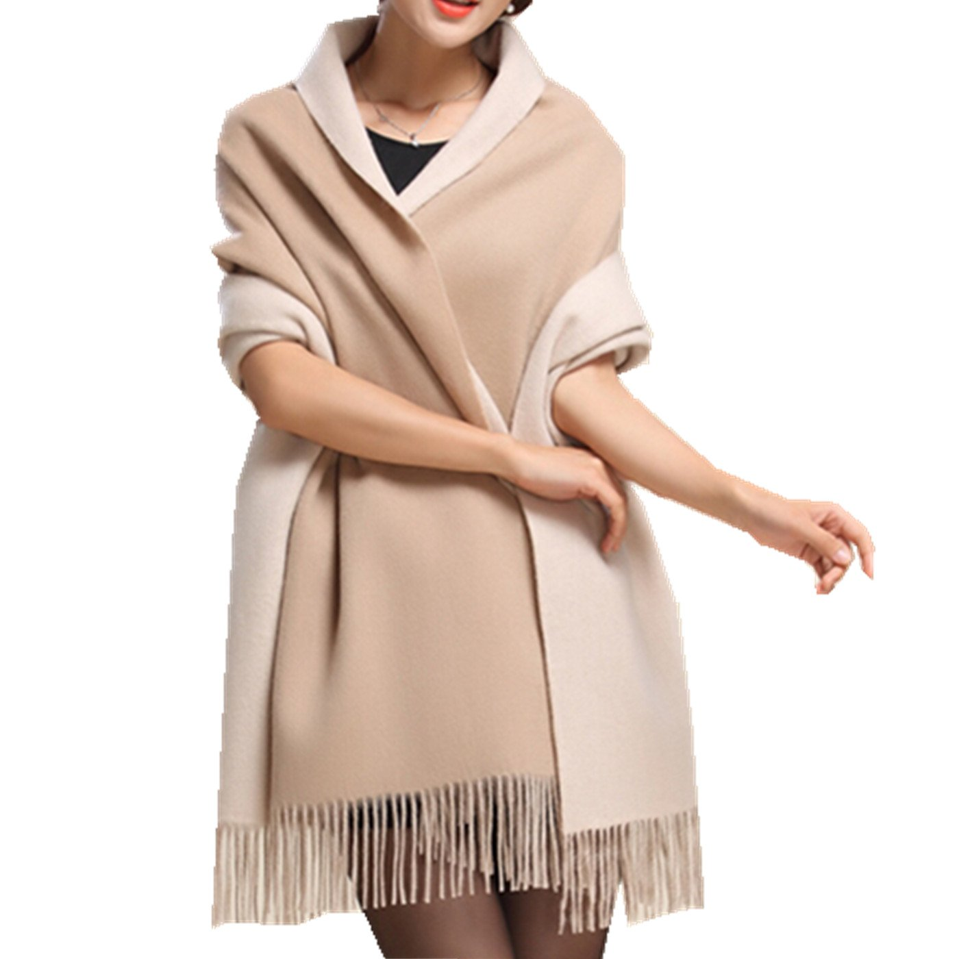 Gift Box Saferin Large 78''x28'' Women Soft Cashmere Wool Wraps Shawls Stole Scarf Double-Sided Thick Warm Winter (Khaki Beige)