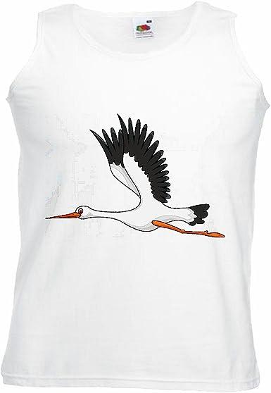 Camisa del músculo Tank Top Vuelo DE Aves CIGÜEÑAS Stork gritos Aves MIGRATORIAS CIGÜEÑA Blanca traqueteo Ciconia ciconia Manga en Blanco: Amazon.es: Ropa y accesorios