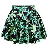 Women's Girls Green Leaf Weed Crop Digital Printed High Waist Mini Skater Skirt