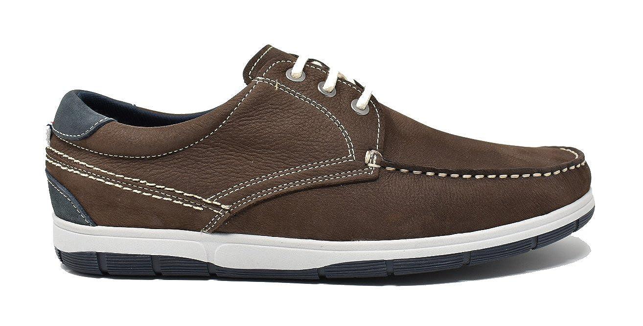 NUPER BAERCHI Zapato Náutico de Hombre EN Piel - Made In Spain - 7210 Marrón 41 EU