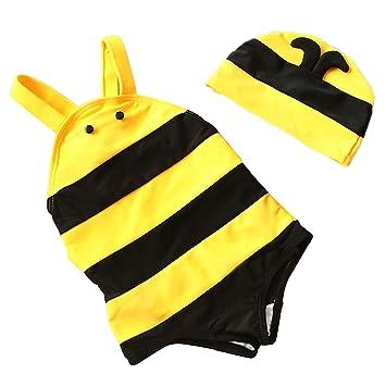 Beetest Kids Baby Girls Cute Bee Style One Piece Swimsuit Swimwear