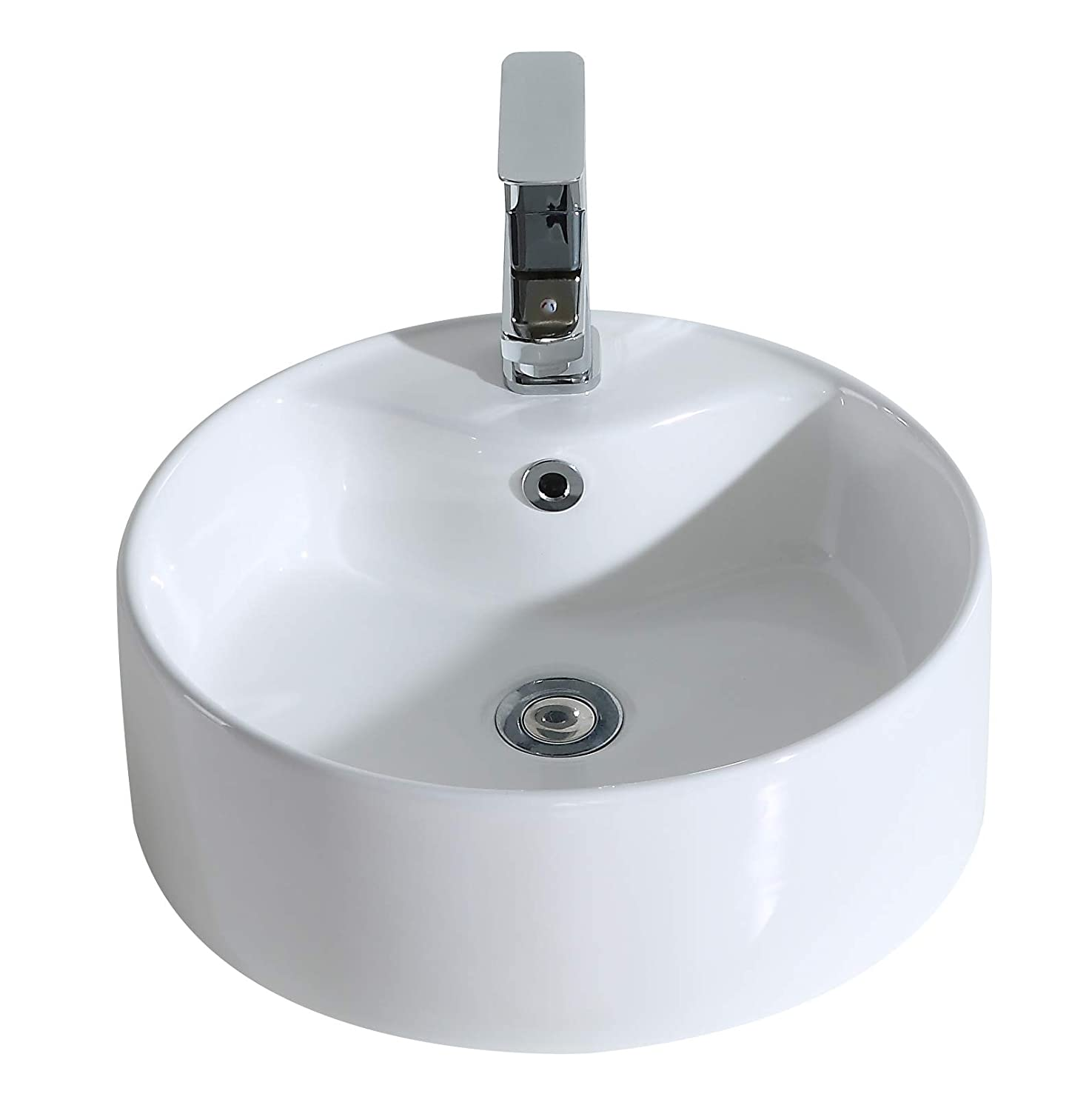 ERIDANUS Vessel Sink, Series Scott-A, Ceramic Wash Basin Sink with [Smooth Finish] Countertop Mounted [Easy Installation] for Lavatory Vanity Cabinet, 41 X 41 X 15CM
