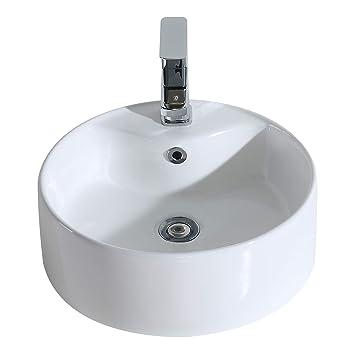 Vasque De Salle De Bain Ronde.Eridanus Vasque A Poser Ronde Salle De Bain Lavabo En Ceramique Lave Mains Toilettes Dia 45 5 H15cm Serie Scott S
