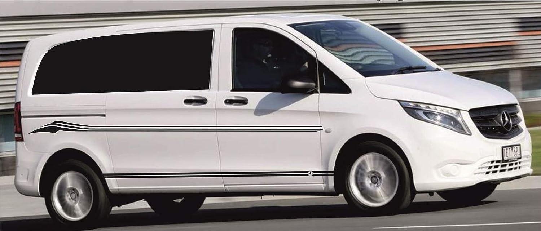 SUPERSTICKI MERC Vito Transporter Van Seitenstreifen Set beidseitig Zierstreifen Stripes Aufkleber Autoaufkleber Tuningaufkleber Hochleistungsfolie f/ür alle glatten Fl/ächen UV und Waschanlage