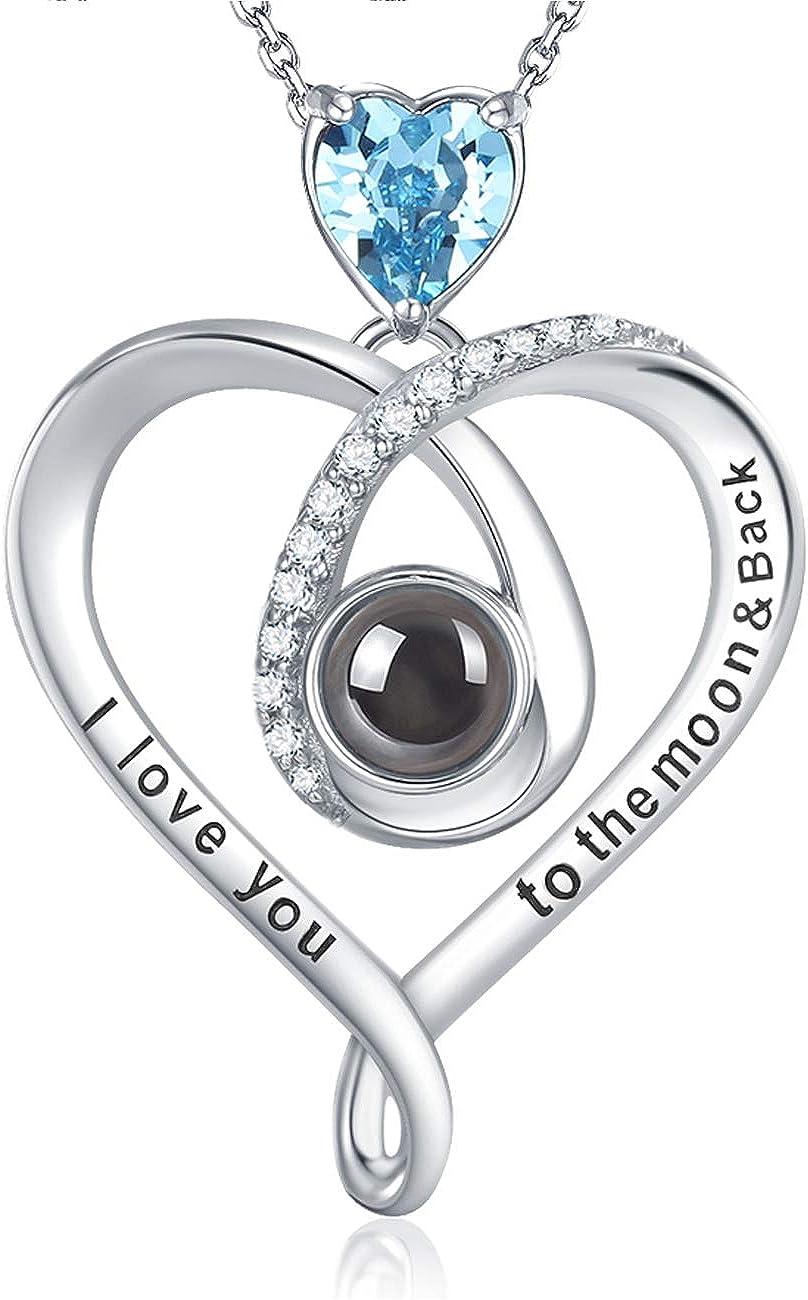 GinoMay - Collar con colgante de topacio azul para mujer, regalo de cumpleaños, día de San Valentín, regalo de plata de ley