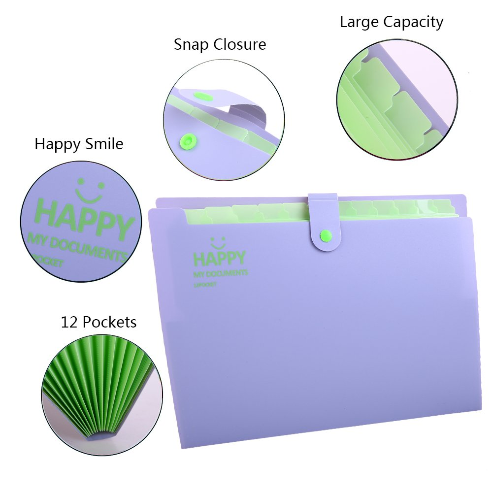 Accordion Document Organizer Portable Office Business Study Student File Filing Bags Expanding File Folders 12 Happy Smile Printed Snap Button Closure Pocket Plastic Letter Size A4 Paper Folder