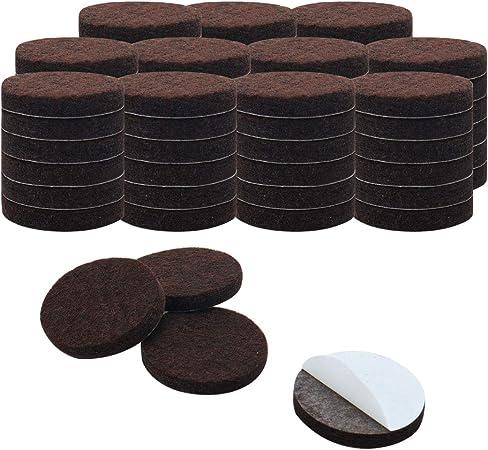 Muebles almohadillas de fieltro Premium con Super pegar adhesivo adhesivo/ /Protege Todas las Superficies para suelos marr/ón 1/Inch Ronda almohadillas de fieltro 100/piezas bolsa