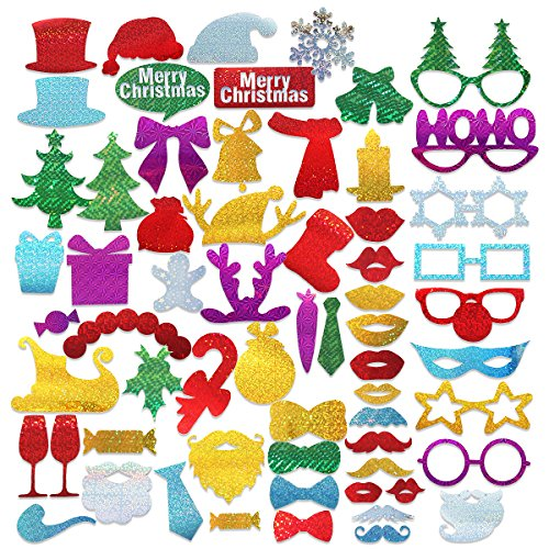 PBPBOX 60pcs Glitter Party Photo Booth Props DIY Kit for Merry Christmas Photobooth Dress-up Accessories & Party Favors