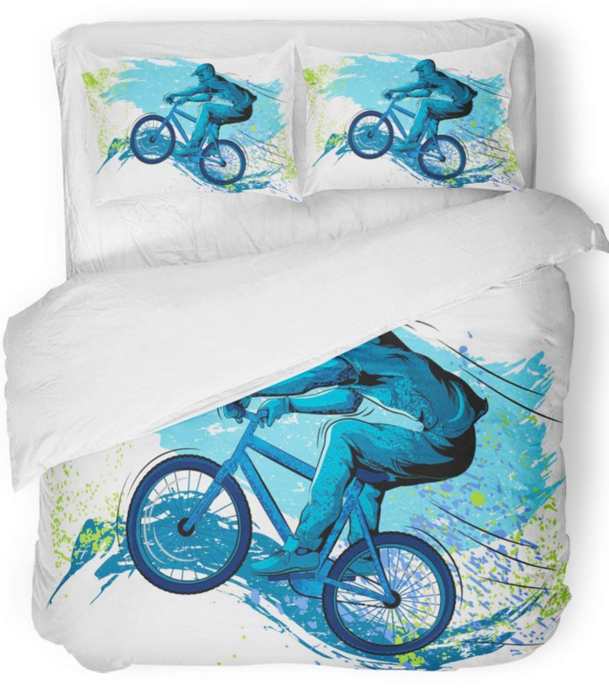 Emvency 3 Piece Duvet Cover Set Breathable Brushed Microfiber Fabric BMX of Sportsman Cycling Extreme Bike Freestyle Triathlon Bicycle Cycle Speed Bedding Set with 2 Pillow Covers Twin Size