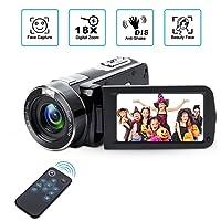 Caméscope numérique avec Vision Nocturne Infrarouge Weton 1080P Full HD Caméra vidéo numérique 24,0 Mpx, 18 × Zoom numérique 18 × Caméra vidéo numérique (Deux Piles).