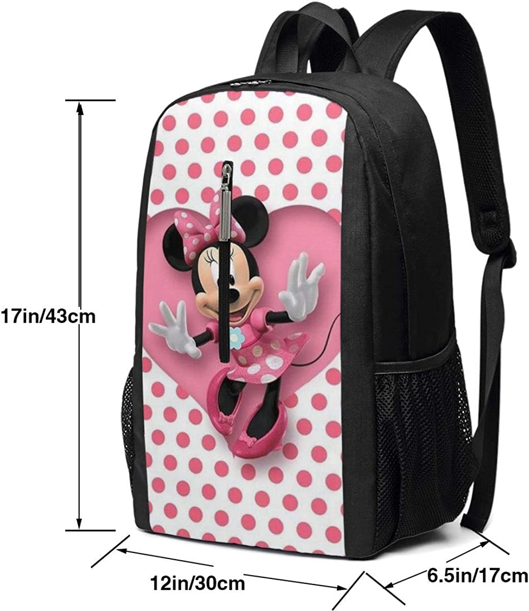 Cute Minnie Mouse Large Laptop Bag Travel Hiking Daypack For Men Women School Work Backpack 17 Inch