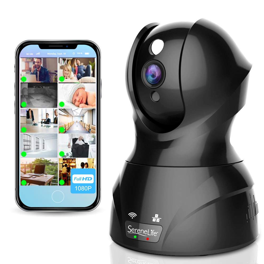 SereneLife Indoor Wireless IP Camera - HD 1080p Network Security Surveillance Home Monitoring w/ Motion Detection, Night Vision, PTZ, 2 Way Audio - iPhone Android Mobile PC WiFi - IPCAMHD82 by Pyle