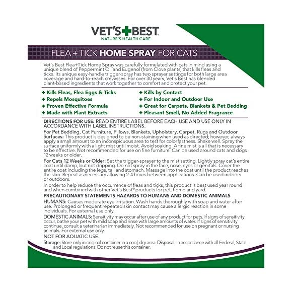Vet's Best Flea and Tick Home Spray for Cats, 32 oz, USA Made