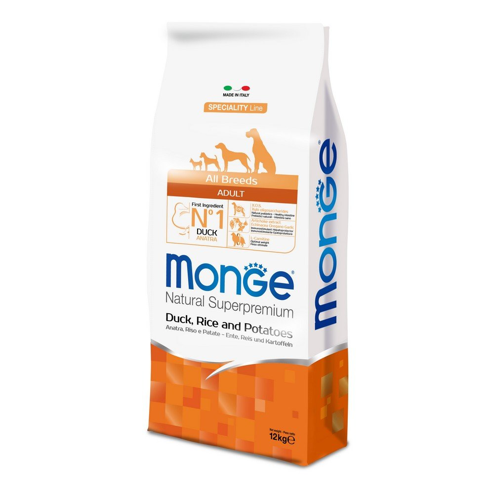 MONGE NATURAL SUPERPREMIUM Hund Ente Hundetrockenfutter Premium MONGE ALL BREEDS ADULT AN.