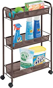 mDesign Portable Rolling Laundry Utility Cart Organizer Trolley with Easy-Glide Wheels and 3 Multipurpose Heavy-Duty Metal Mesh Basket Shelves - Narrow Shelf - Durable Steel Frame - Bronze