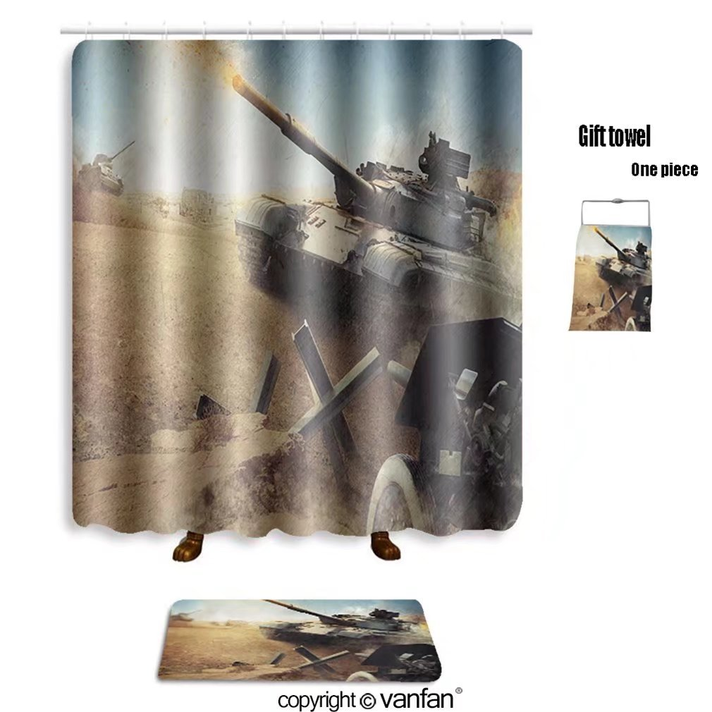 vanfan bath sets with Polyester rugs and shower curtain heavy armor in the field of battle 161876834 shower curtains sets bathroom 72 x 84 inches&31.5 x 19.7 inches(Free 1 towel and 12 hooks)