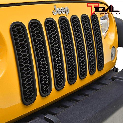 Tidal Mesh JK Grille Insert Matte Black Honeycomb 7 Pieces Kit for 07-18 Jeep Wrangler JK & Unlimited