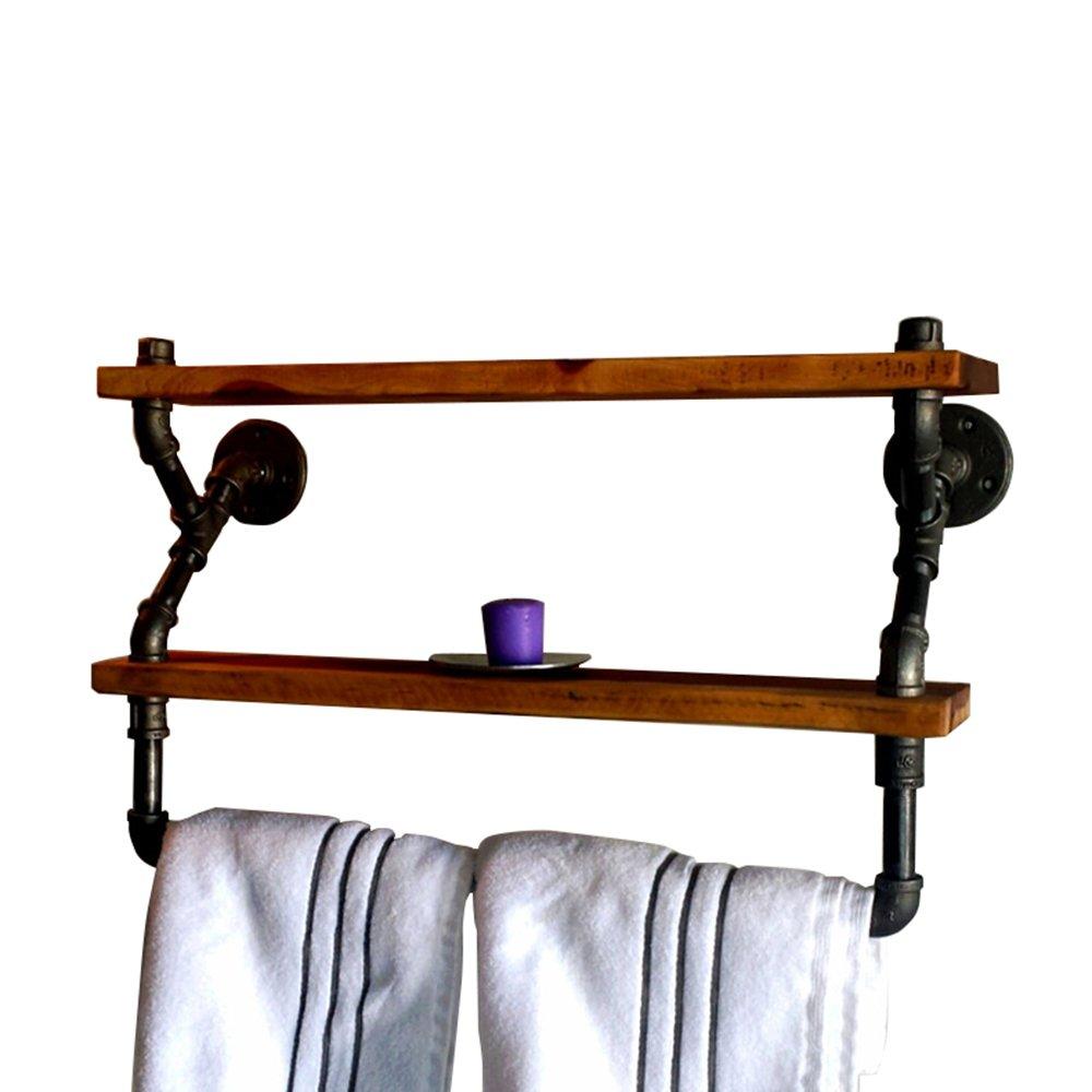 アメリカの国のレトロな産業スタイル/バスルーム錬鉄製の配管のタオルラック/バスルームの木製の棚棚 (サイズ さいず : 64 * 20 * 40cm) B07FYWF6LW  64*20*40cm