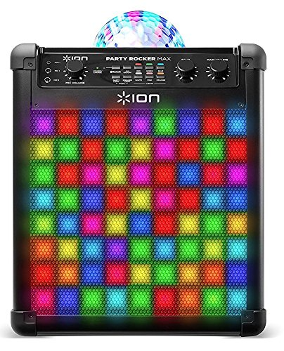 ION Audio Party Rocker Max   100W Portable Bluetooth Party Speaker System & Karaoke Centre with Built-In Rechargeable Battery, Dome Party Light Display, LED Light Grille & Microphone