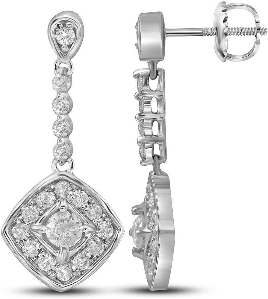 Diamond2Deal - Pendientes de oro blanco de 14 quilates para mujer con diamantes redondos y cuadrados, 1/2 cttw